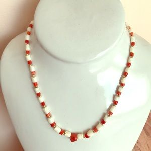 Vintage red and white coral 14k beads necklace